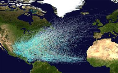 Ciclones tropicales en el Atlántico desde 1850 hasta 2005. Crédito: NASA.