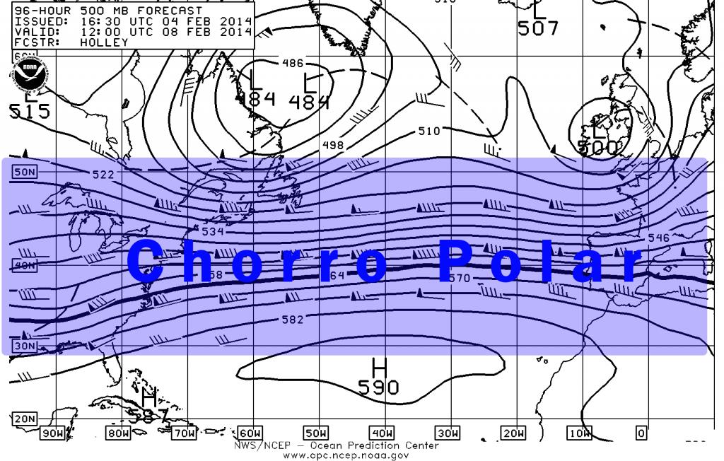 Chorro Polar a 500 hPa, en previsión del GFS para el 8 febrero 2014. Crédito: Centro de Predicción Oceánica.
