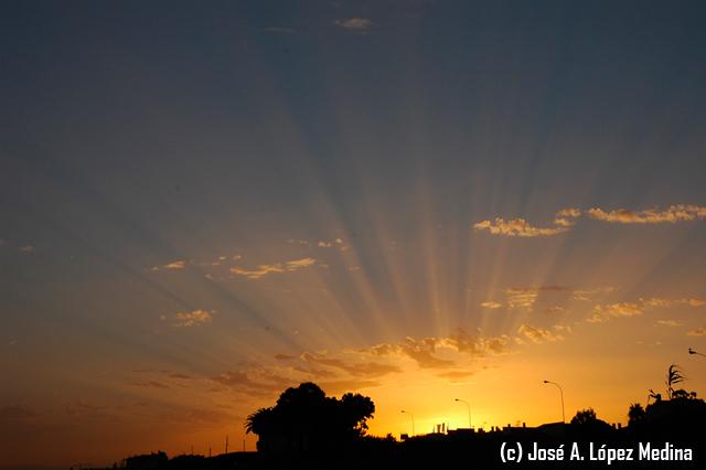 Fotografiando rayos crepusculares y anticrepusculares