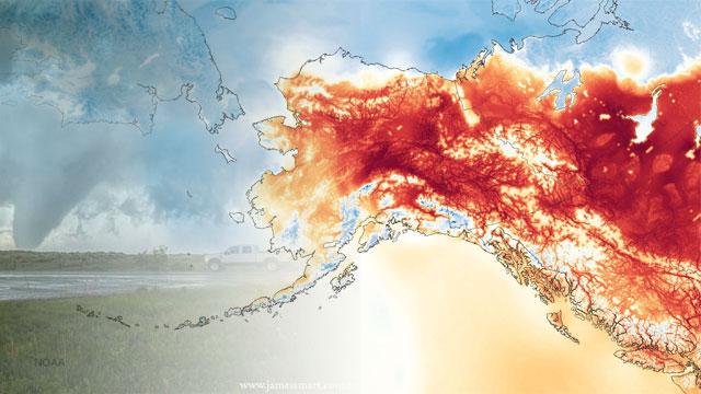 Record de calor en Alaska e inundaciones en Texas y Oklahoma