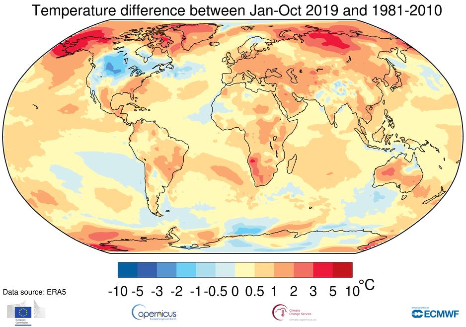 2019 será el segundo o tercer año más cálido registrado