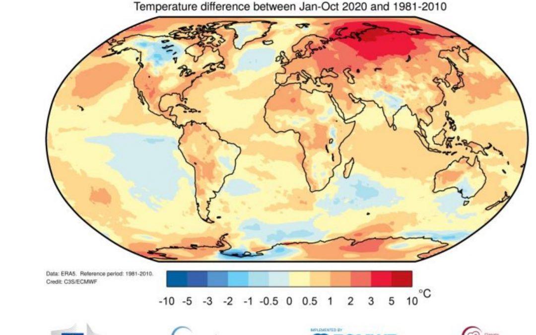 2020 será el tercer año más cálido del registro