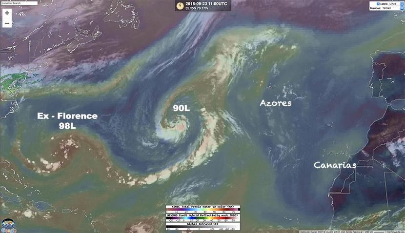 El Atlántico Central puede ser escenario de una extraordinaria metamorfosis de una baja extratropical