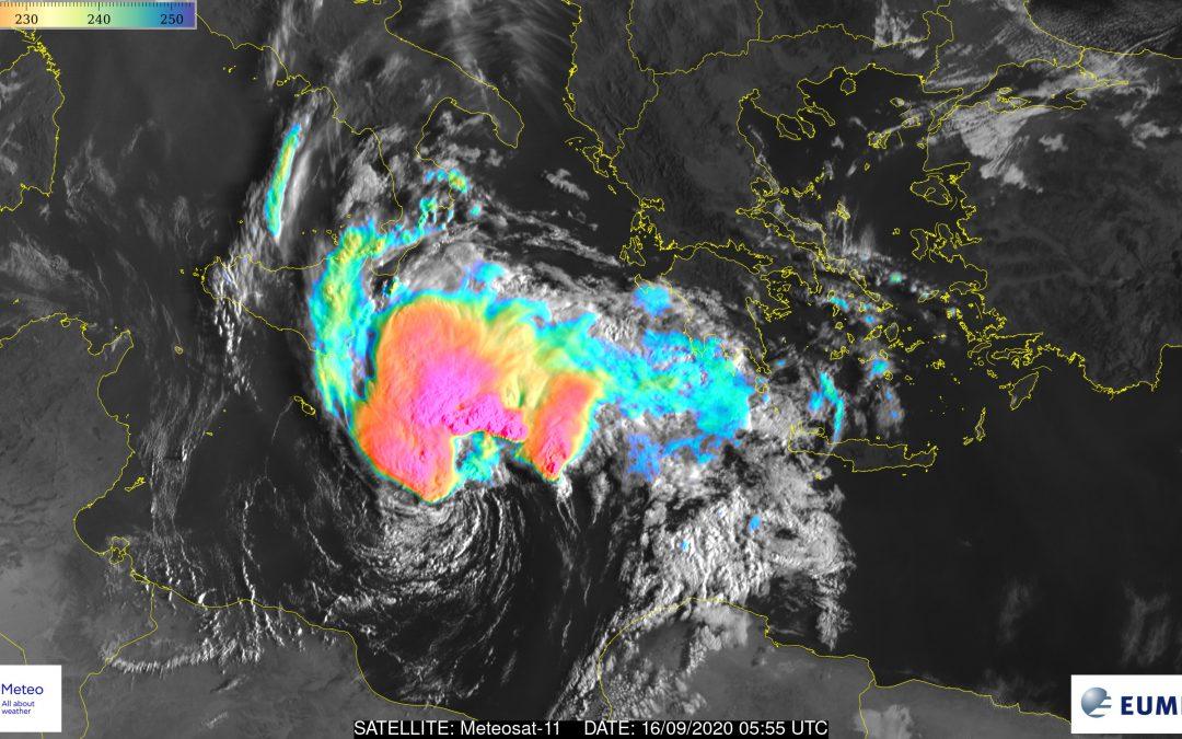 Ciclón tropical en el Mar Mediterráneo: medicane Ianos