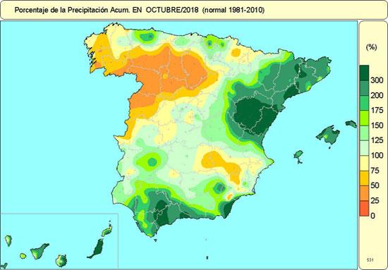Octubre de 2018 fue húmedo y templado en España