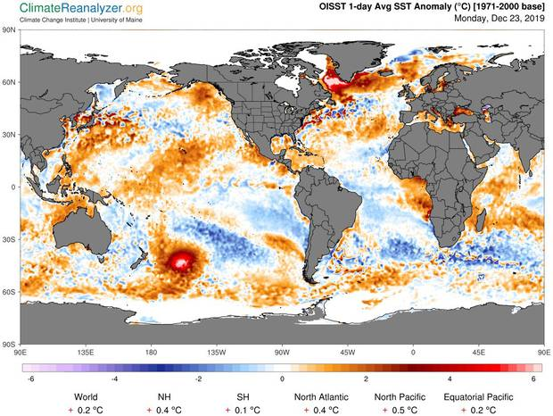 Una enorme masa de agua caliente aparece cerca de Nueva Zelanda