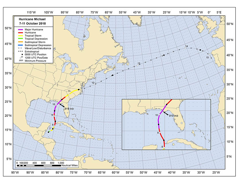 Huracán Michael: trayectoria e intensidades desarrolladas, así como el momento en que se alcanzó su máxima intensidad.