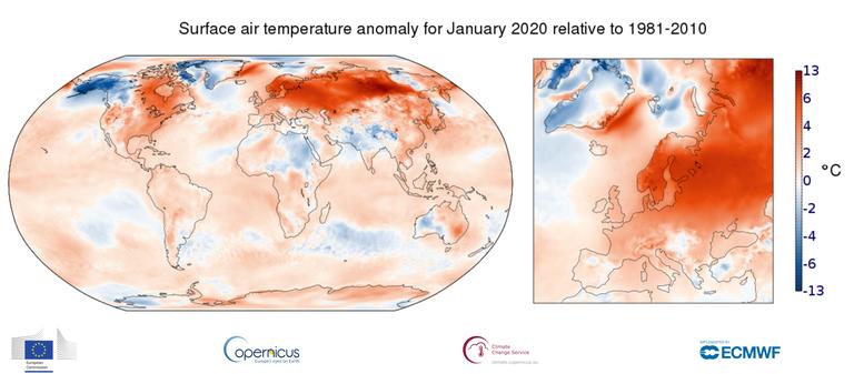 Enero de 2020 el más cálido del registro histórico