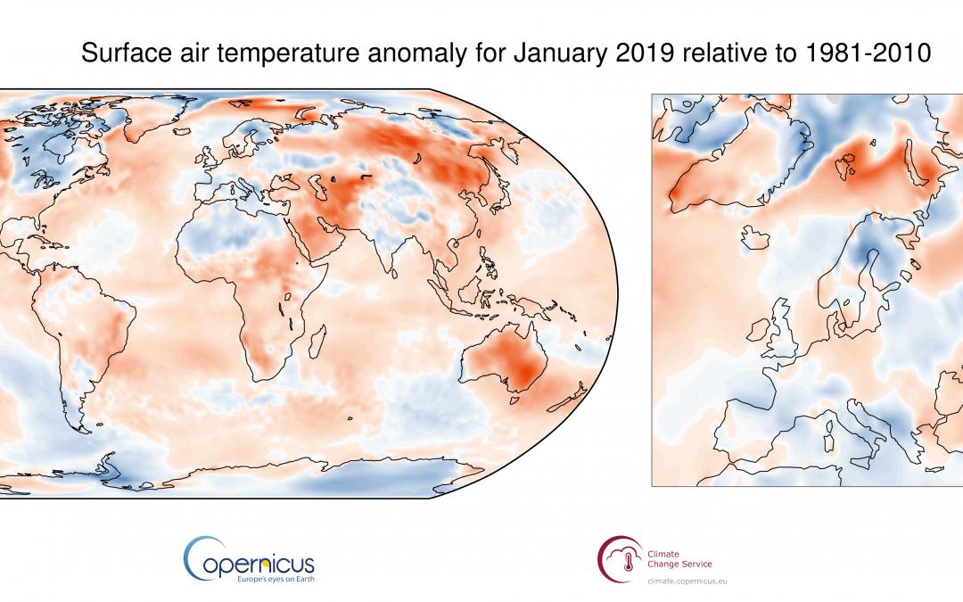 Enero de 2019 fue el cuarto más cálido desde 1981