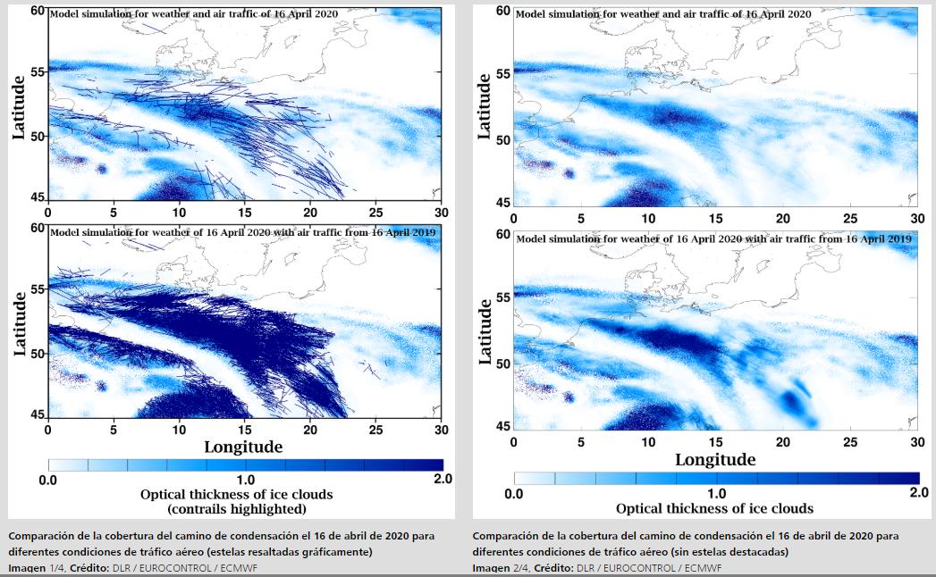 Las estelas de aviones disminuyen un 90% en los cielos de Europa