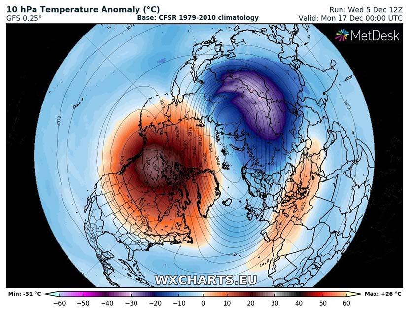 Calentamiento Súbito Estratosférico posible a mitad de diciembre