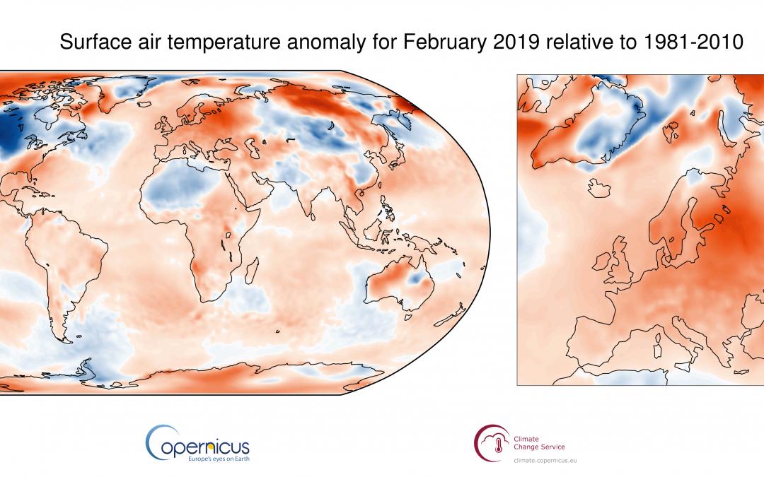 Febrero de 2019 fue el tercero más cálido de la serie 1981-2010