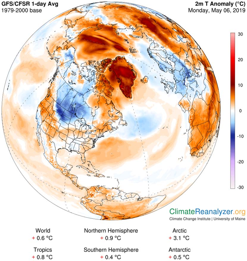 Anomalías de temperatura a 2m. sobre la superficie