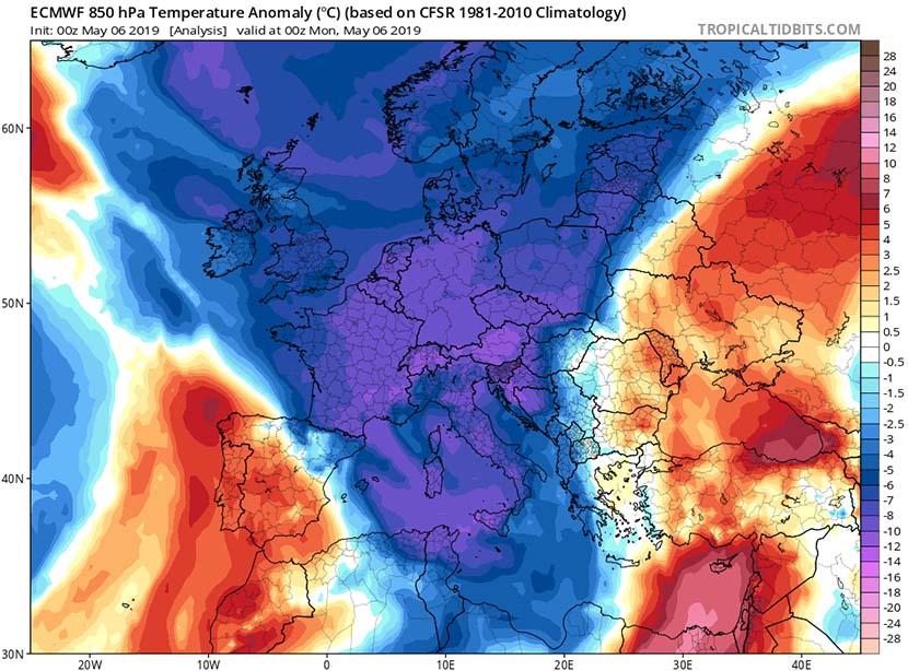Anomalía de temperatura a 850 hPa
