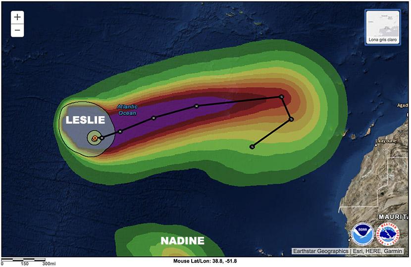 Huracán Leslie, incertidumbre máxima. Huracán Michael, devastador e histórico al sureste de EE.UU.
