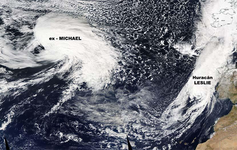 Efecto Fujiwara entre los restos del huracán Michael y del huracán Leslie