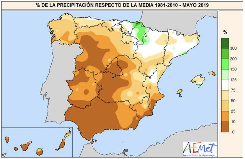 Mayo 2019 en España: cálido y muy seco, según AEMET.