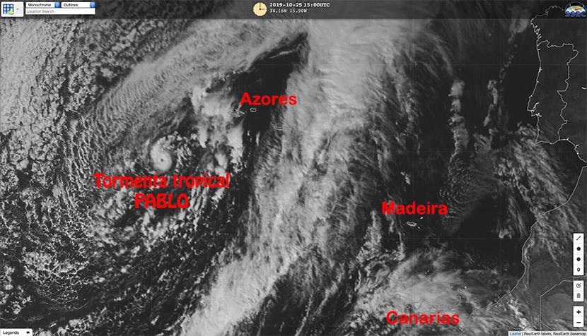 Tormenta tropical Pablo en Azores, otro raro caso de ciclogénesis tropical