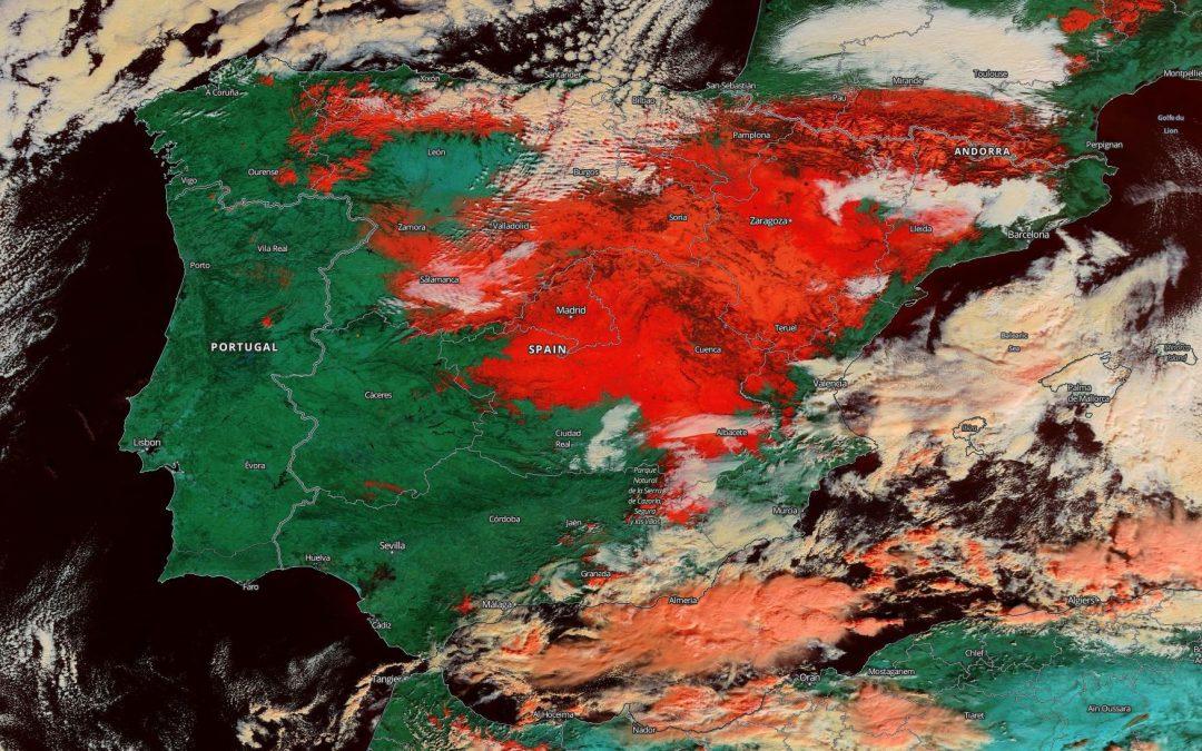 Una España nevada y congelada a 12 de enero de 2021