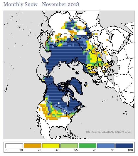 La superficie nevada en el Hemisferio Norte (de récord) podría augurar un invierno duro