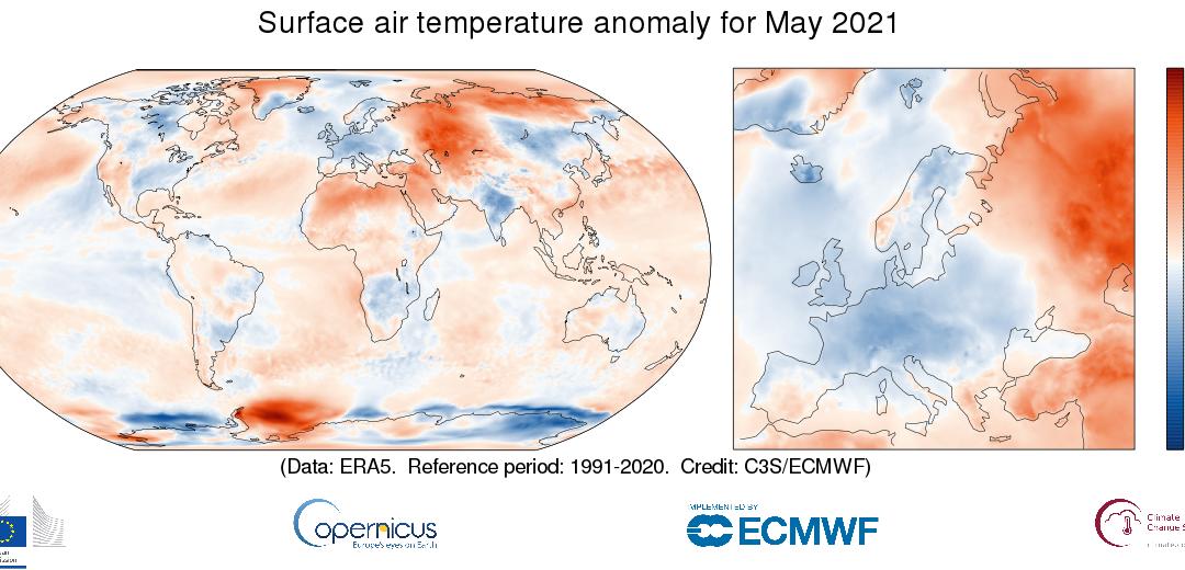 Mayo de 2021 cálido en el planeta, frío en Europa