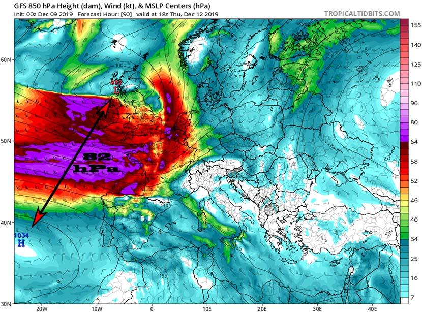 Gestándose un gran temporal en el Atlántico