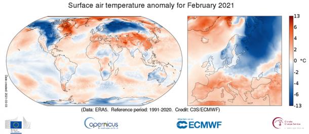 Un febrero 2021 muy frío en Norteamérica y Eurasia
