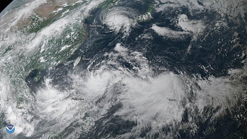 Trío de ciclones tropicales en el Pacífico Noroeste
