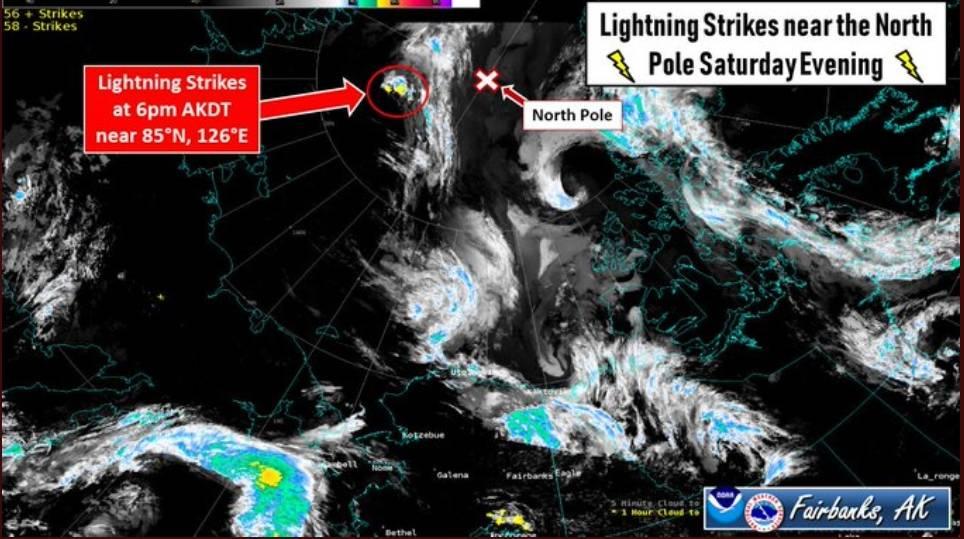 Una inusual tormenta  en el Polo Norte