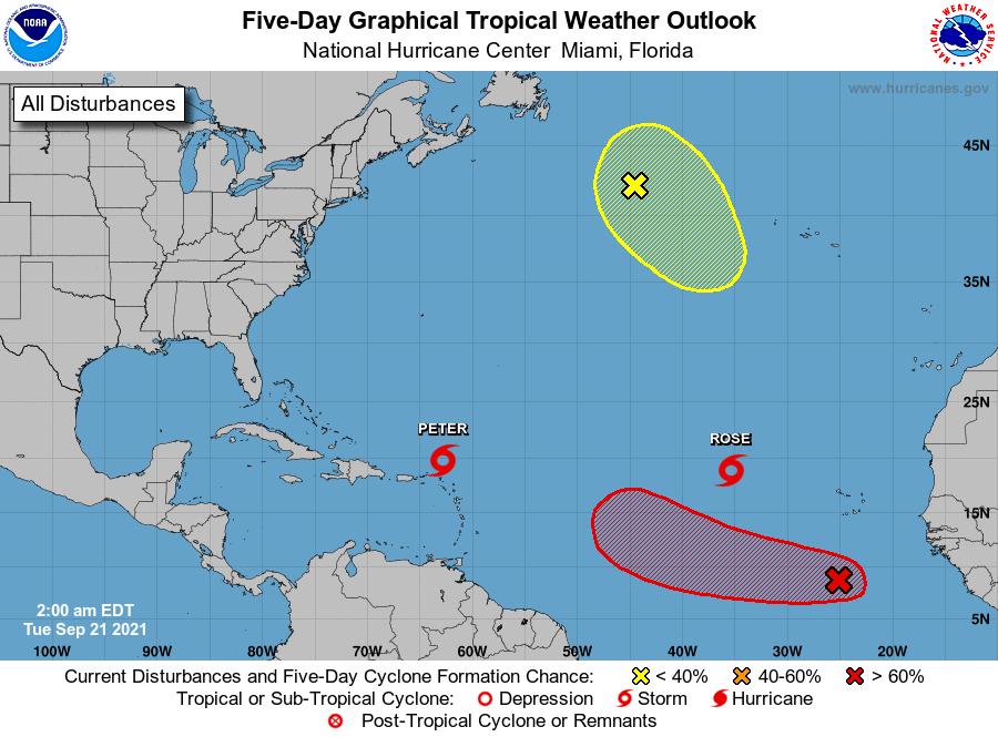 Peter, Rose y dos áreas bajo vigilancia en el Atlántico